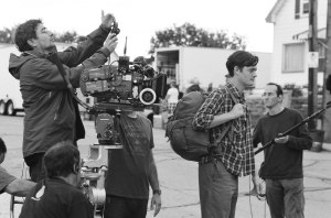 Eric Gautier (left) filming Sam Riley (right)