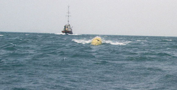 in Jaws, the shark is suggested more than it is shown (here by use of the yellow barrels). An effective technique that increased the suspence.