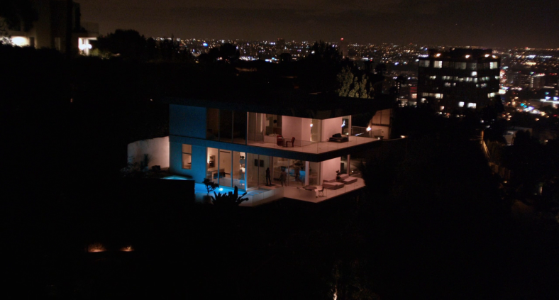 The wide shot of the break-in as it slowly zooms in without actually approaching the characters.
