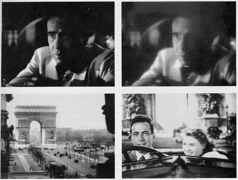 A superimposed transition (generally called a cross-fade) suggests a jump to a flashback. In this case the memories of Rick in Casablanca (1945)