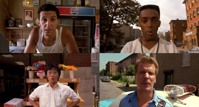 A variety of characters start shouting racist remarks at the camera.