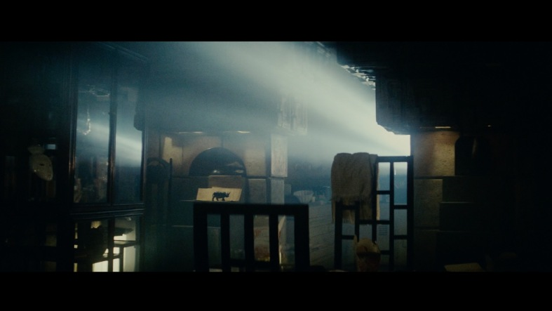 In this dark shot of Deckard's apartment, light shafts seem to scan the environment for us.